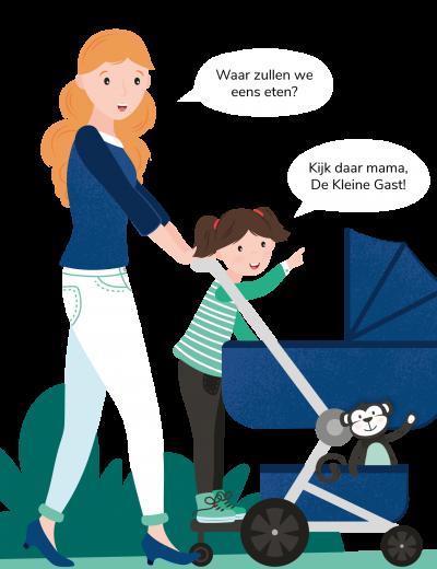 Illustratie moeder met kinderwagen -smallest